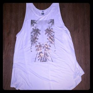 White sleeveless top with rose gold graphics!